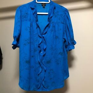 Worthington beautiful blue floral blouse